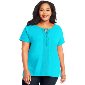 Plus Size Just My Size Front Lace Slub Short Sleeve Top