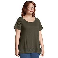Plus Size Just My Size Lace Panel Slub Short Sleeve Top
