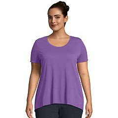 Plus Size Just My Size Mixed Fabric Short Sleeve Top