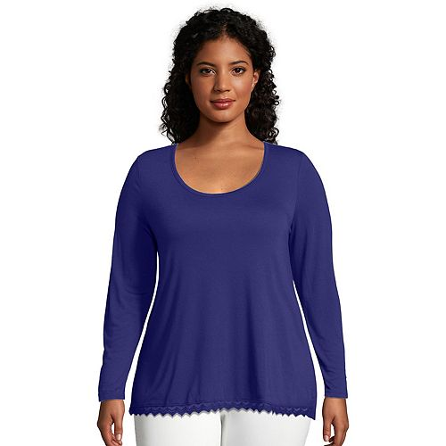 Plus Size Just My Size Lace Trim Long Sleeve Top