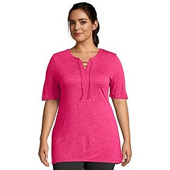 Plus Size Just My Size Lace-Up Space-Dye Top