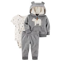 Baby Boy Carter's Sherpa Bear Jacket, Bodysuit & Pants Set
