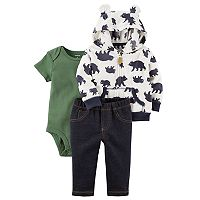Baby Boy Carter's Microfleece 3D Ear Bear Jacket, Bodysuit & Faux-Denim Pants Set