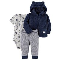 Baby Boy Carter's Sherpa 3D Ear Puppy Jacket, Bodysuit & Pants Set