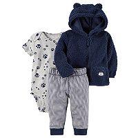 Baby Boy Carter's Sherpa 3D Ear Puppy Jacket, Bodysuit & Pants Set