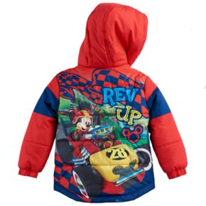 "Disney's Mickey & The Roadster Raxcers Mickey Mouse Toddler Boy ""Rev Up"" Puffer Heavyweight Jacket"