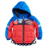 "Disney / Pixar Cars Toddler Boy Lightning McQueen & Jackson Storm ""Race & Win"" Puffer Heavyweight Jacket"