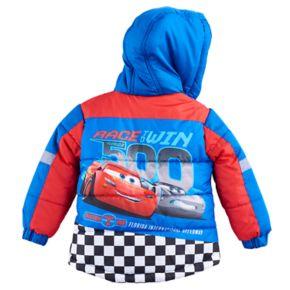 """Disney / Pixar Cars Toddler Boy Lightning McQueen & Jackson Storm """"Race & Win"""" Puffer Heavyweight Jacket"""
