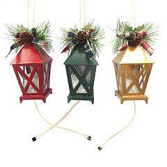 St. Nicholas Square® Light-Up Lantern Christmas Ornaments 3 pc Set