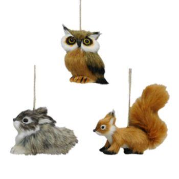 St Nicholas Square Faux Fur Woodland Animal Christmas Ornaments  Piece Set