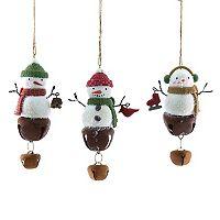 St. Nicholas Square® Snowman Bell Christmas Ornament 3-piece Set
