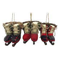 St. Nicholas Square® Faux-Fur Ice Skate Christmas Ornaments 3-piece Set