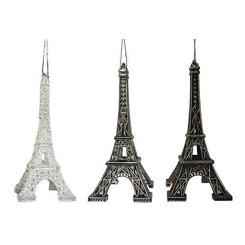 - St. Nicholas Square® Paris Eiffel Tower Christmas Ornaments 3-piece Set