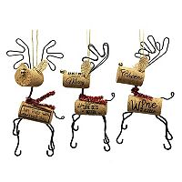 St. Nicholas Square® Wine Cork Reindeer Christmas Ornaments 3-piece Set