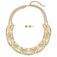 GS by gemma simone Geometric Necklace & Ball Stud Earring Set