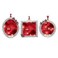 St. Nicholas Square® Poinsettia Photo Holder Christmas Ornament 3-piece Set