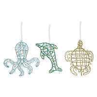St. Nicholas Square® Glitter Coastal Christmas Ornaments 3-piece Set