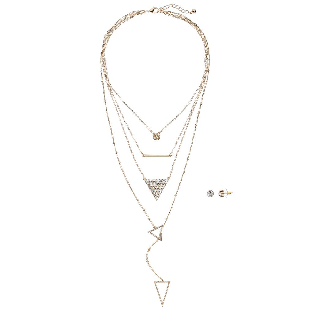 GS by gemma simone Triangle Layered Necklace & Stud Earring Set