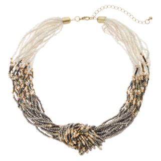 GS by gemma simone Gray Seed Bead Knotted Chunky Necklace