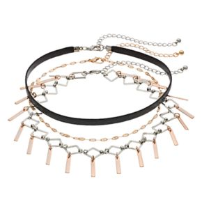 Mudd® Two Tone Accordion Fringe Choker Necklace Set