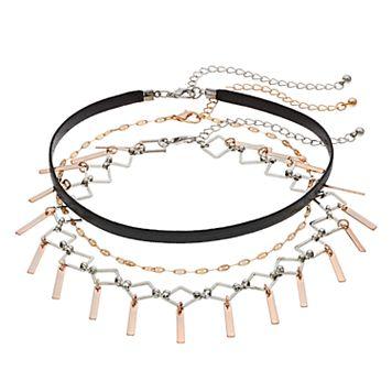 Mudd® Two Tone Accordion Fringe Choker Necklace Set