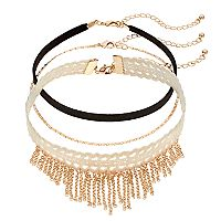 Mudd® Velvet & Macrame Chain Fringe Choker Necklace Set