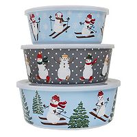 St. Nicholas Square® 3-pc. Blue Snowman Melamine Stacking Containers