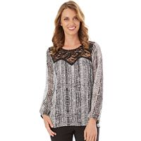 Women's Apt. 9® Print Lace Yoke Top