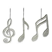 St. Nicholas Square® Glitter Music Note Christmas Ornaments 3-piece Set