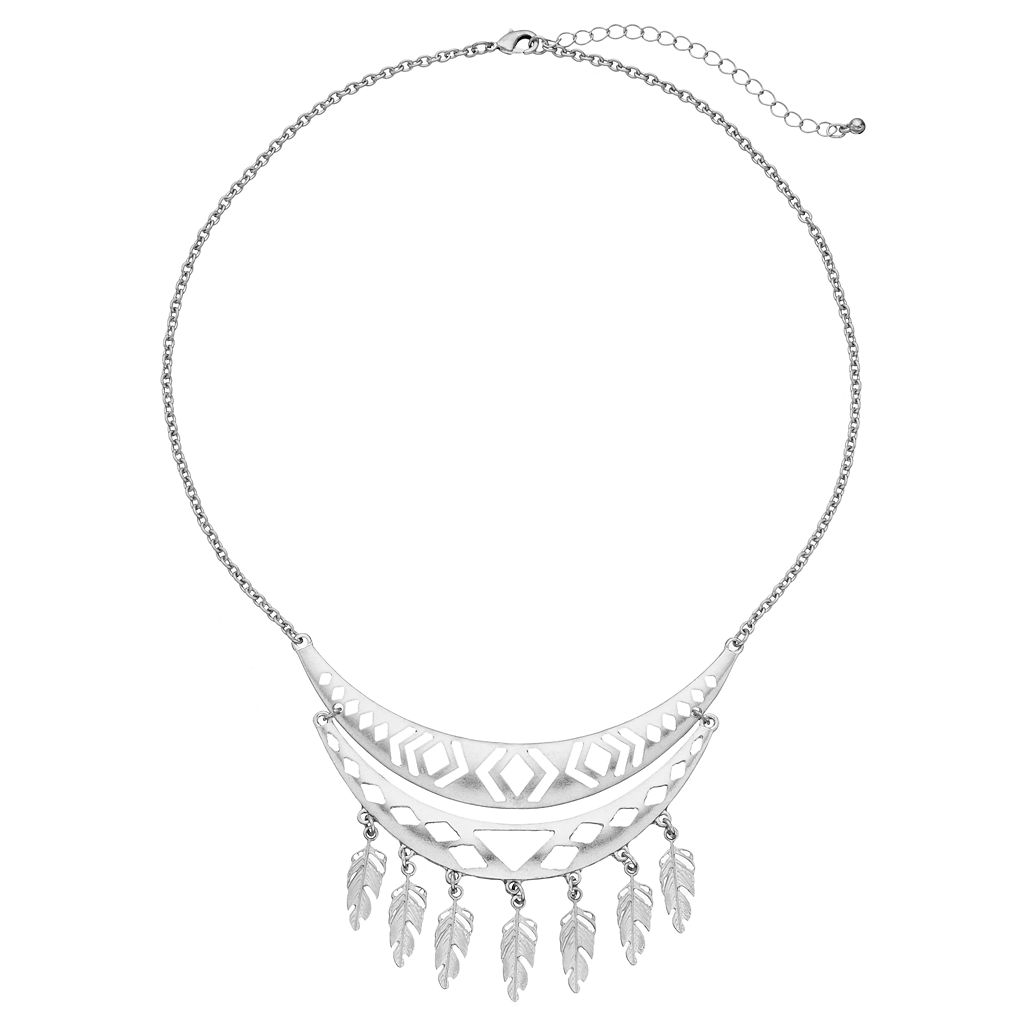Feather Cutout Curved Bar Necklace
