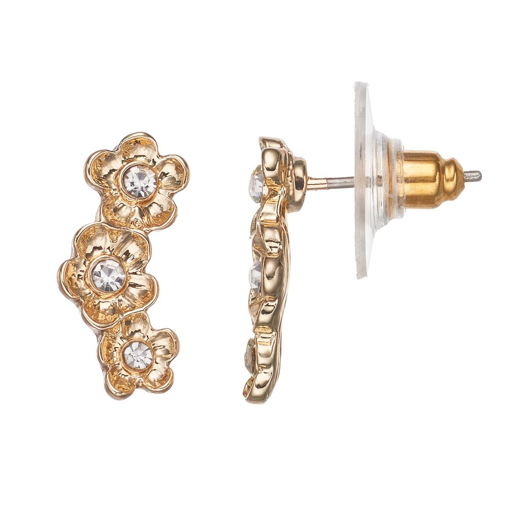 LC Lauren Conrad Triple Flower Climber Earrings