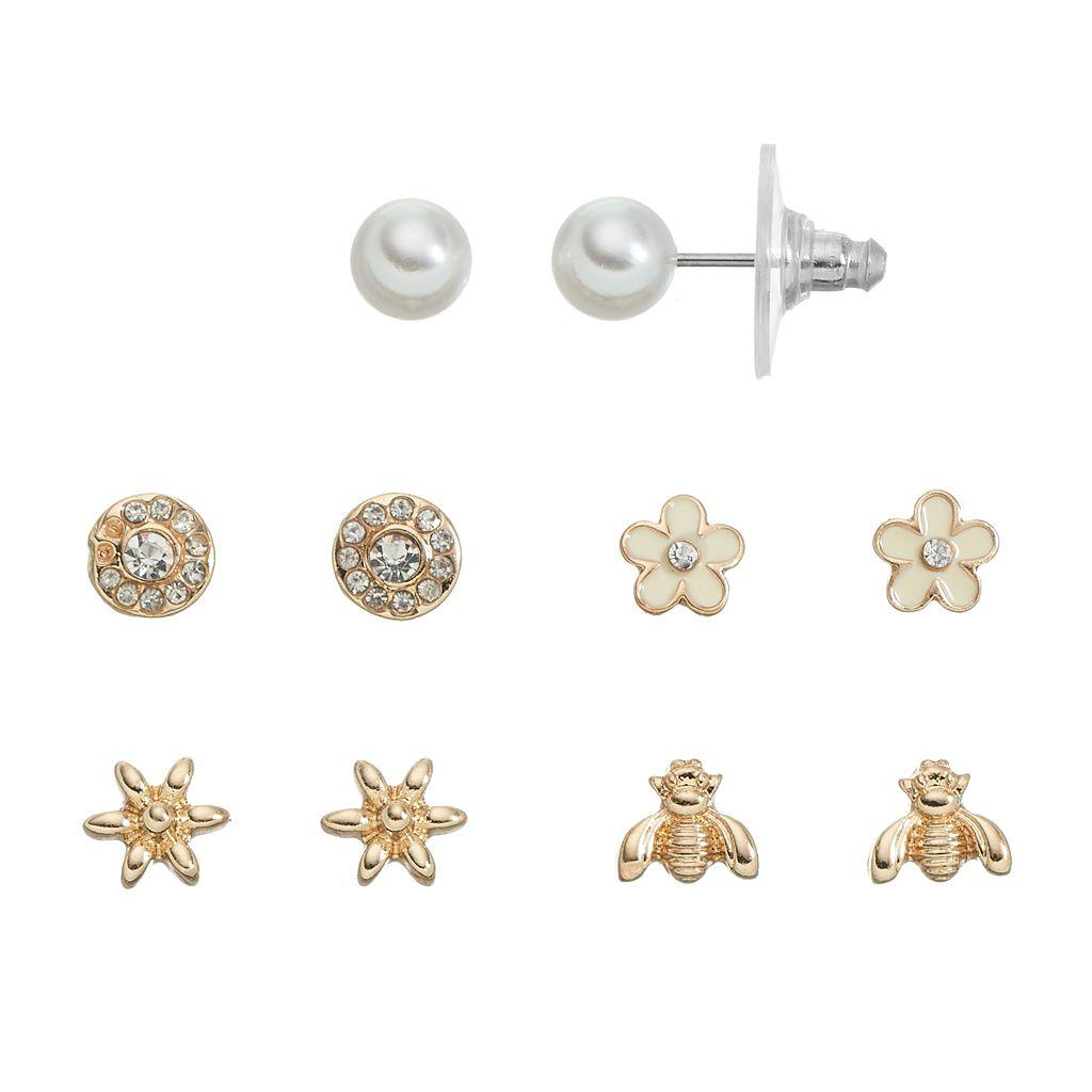LC Lauren Conrad Flower & Bee Stud Earring Set