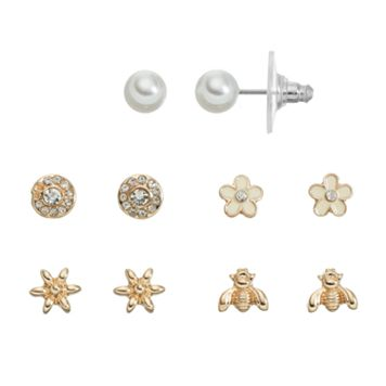 LC Lauren Conrad Flower & Bee Stud Earring Set