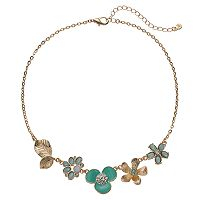 LC Lauren Conrad Green Flower & Leaf Necklace