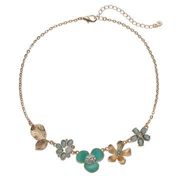 LC Lauren Conrad Green Flower & Leaf Necklace