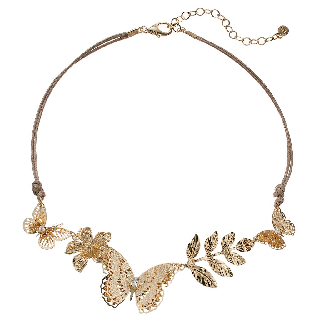 LC Lauren Conrad Butterfly, Flower & Leaf Cord Necklace