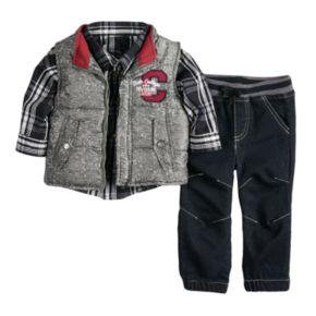 Toddler Boy Nannette Vest, Plaid Shirt & Pants Set