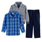 Toddler Boy Nannette 3 pc Marled Sweater, Plaid Button Down Shirt & Pants Set