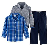 Toddler Boy Nannette 3 pc Marled Sweater, Plaid Button Down Shirt & Pants Set