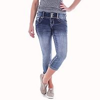 Juniors' Amethyst Faded 3-Button Denim Capris