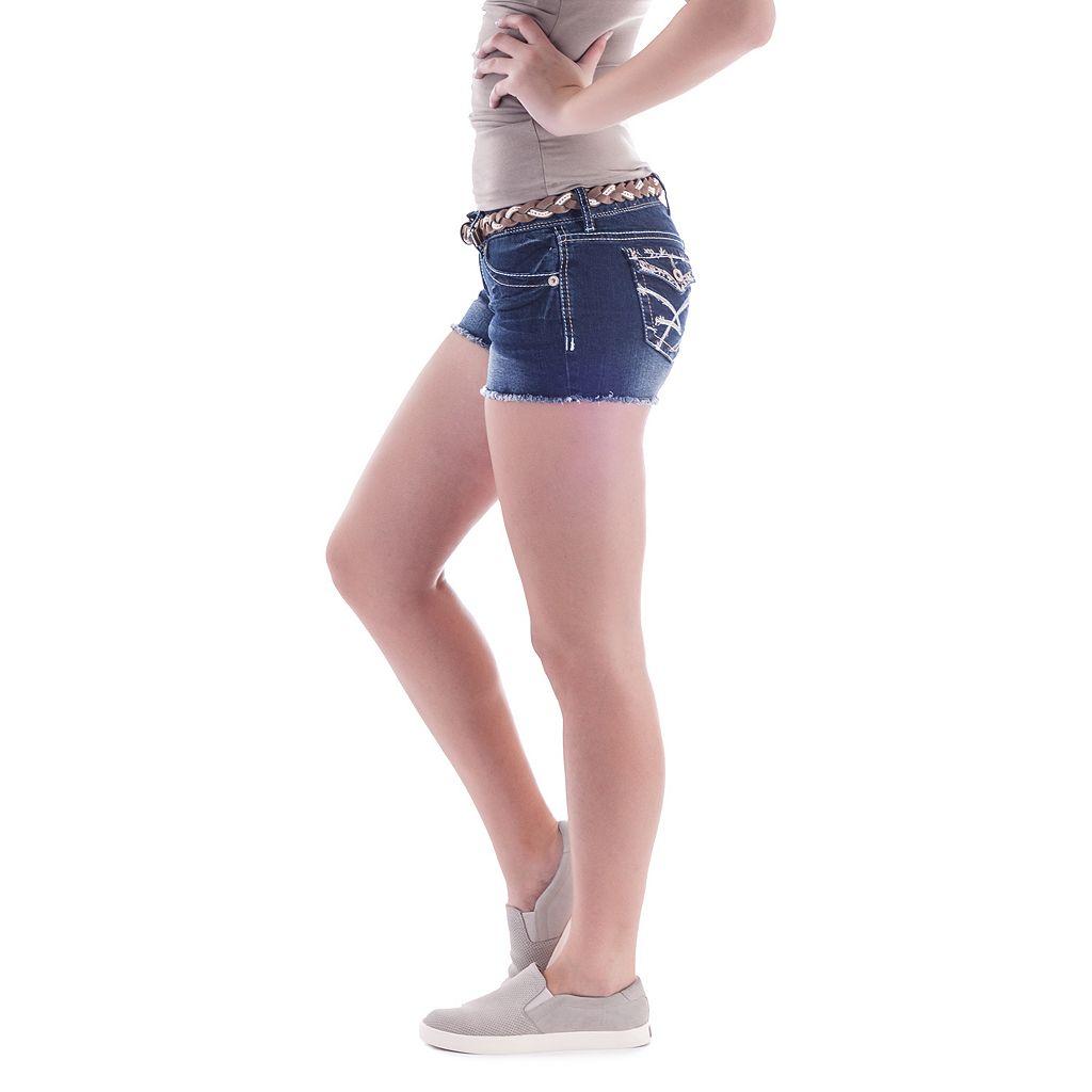 Juniors' Amethyst Belted Fray Hem Shortie Shorts