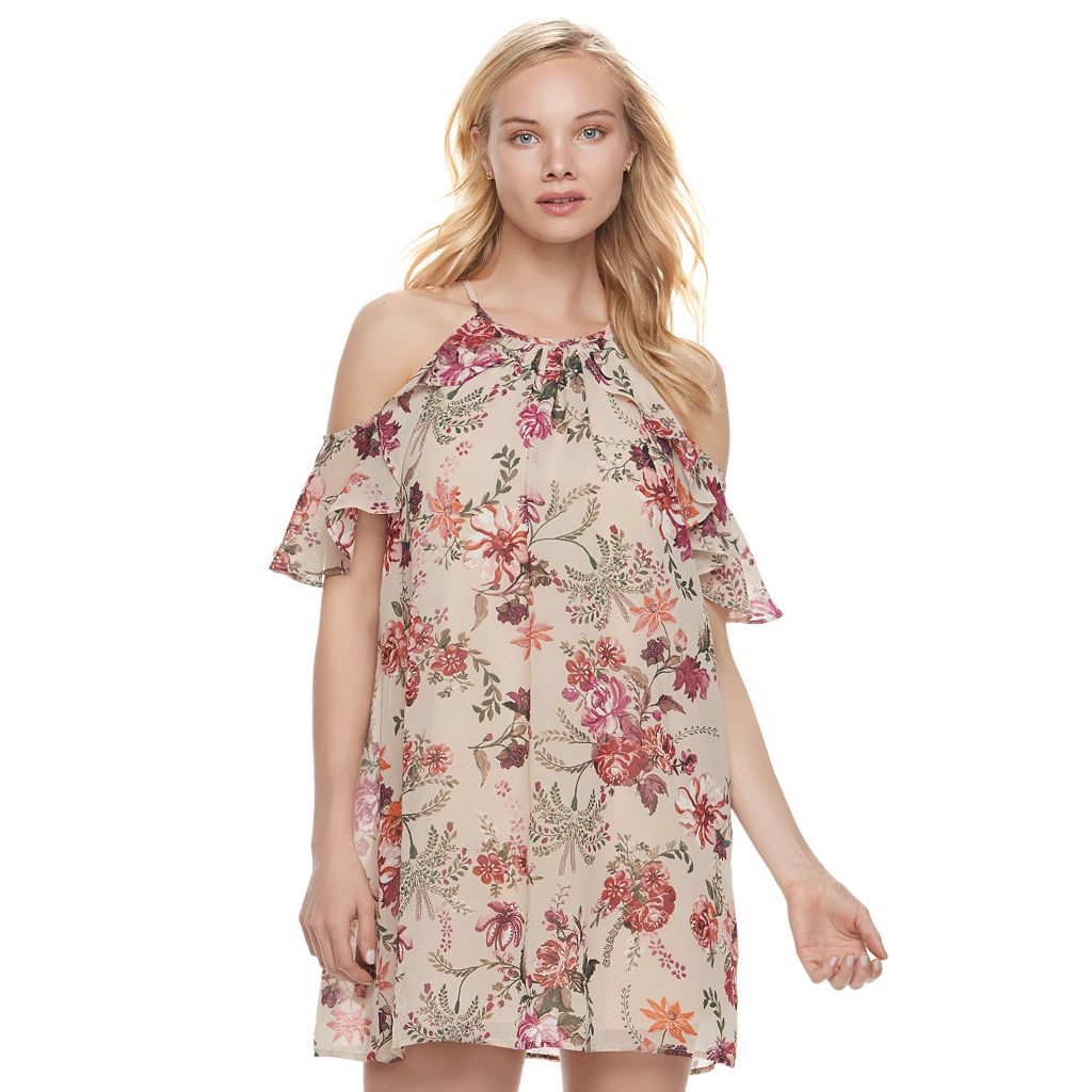 Juniors' Lily Rose Floral Cold-Shoulder Halter Dress