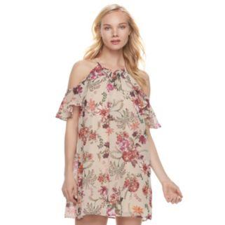 Juniors' Lily Rose Floral Cold-Shoulder Halter Dress