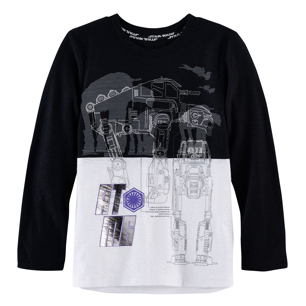 Black t shirts kohls - Boys 4 7x Star Wars A Collection For Kohl S Star Wars Episode Viii The Last Jedi Foiled At M6 Colorblock Tee