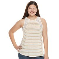 Juniors' Plus Size SO® Lace Trim Split-Back Tank