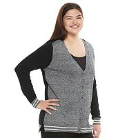 Juniors' Plus Size SO® Striped Trim Varsity Cardigan
