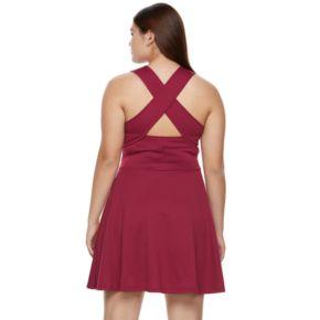 Juniors' Plus Size Candie's® Cross Body Skater Dress