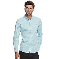Men's SONOMA Goods for Life™ Modern-Fit Checked Stretch Poplin Button-Down Shirt