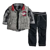 Baby Boy Nannette Vest, Plaid Shirt & Pants Set