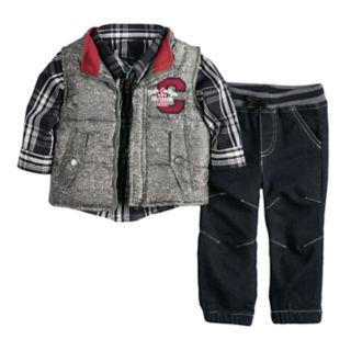 Baby Boy Nannette Vest, Plaid Shirt & Pants Set